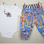 Circus harem pants & onesie – Size 1 – Ready made – Baby boy 1st birthday