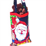 Santa Bag, Christmas Sack, Present Bag, Vintage Fabrics with Glitter Trim