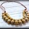 Natural Wood Bead Bib Necklace