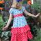 Girl's red peasant twirly dress,kid's dress,child's dress,girl's dress