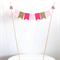 Cake Topper - Hot Pink, Baby Pink and Gold Glitter Cake Banner Paper Roses