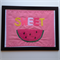 SWEET pink watermelon framed art, handmade, felt, cotton, perspex ikea frame