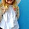 girls linen bolero - ivory floral tailored linen jacket