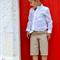 boys shirt - summer white tunic pintucks