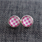 Pink Gingham ~ Round Stud Post Earrings