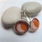 Orange and White Feather Earrings