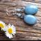 Sky Blue Brazilian  Gemstone & Sterling Silver Earrings