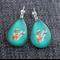 Jade Feather~Teardrop Lever Back Earrings