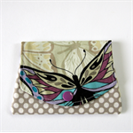 Pocket Purse - Purple & Blue Butterfly with Polka Dots on Grey.