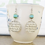 Jane Eyre Earrings Vintage Text Charlotte Bronte Book Turquoise