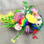 RAINBOW GARDEN SHELL OCEAN DOLPHIN colourful pearls flower feather hairclip OOAK