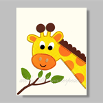 Giraffe wall art print - nursery wall art - animal wall art - neutral kids art