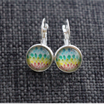 Rainbow Plume ~ Lever Back Earrings