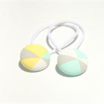 Pastel geometric pattern fabric hair ties, hair bands, ponytail holder, set of 2