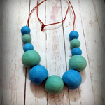 Big Bead Long Necklace in Turquoise Blue & Green