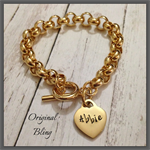 Gold Personalised Hand Stamped Rolo Bracelet