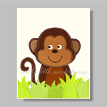 Monkey nursery wall art print - kids wall art - animals wall art - neutral art