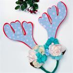 Reindeer antler flower crown headband - Christmas, snow flake, ice frozen
