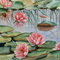 "Lotus Lily Pads PRINT, Reflection Watercolour Painting -  10""x8"" Pond painting."