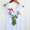 Applique Singlet Floral Stag Silhouette ~Green, Pink, Lace, Jennifer Paganelli