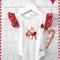 SIZE 00 Gorgeous Christmas Santa Bodysuit - baby, girl, onesie, red, gold