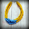 Turquoise & Yellow Multi-strand Bead Statement Necklace