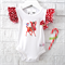 SIZE 000 Gorgeous Christmas Deer Bodysuit - baby, girl, onesie, red, gold