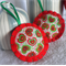 Set of 3 Felt Christmas Decorations - Green and Red Heart Fabric