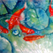 "Koi Fish, PRINT, Watercolour Painting -  10""x8""  Fish Pond 1"
