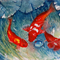 "Koi Fish, PRINT, Watercolour Painting -  10""x8""  Fish Pond 2"
