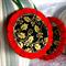 Set of 3 Felt Christmas Decorations - Gold Leaf on black with red felt