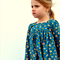girls blouse - teal floral prairie tunic long sleeve