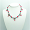Blue and Pink Necklace with Matching Earrings