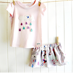 raindrops & whimsy | baby skirt & tee set | raincloud | pink lilac grey