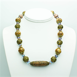 Aqua and Brown Necklace with Matching Earrings
