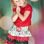 Christmas Holiday Party Ruffled Skirt, Fiesta, sizes 4 to 6 years