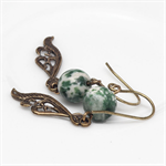 Green Tree Agate Gemstone Earrings