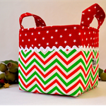 Christmas Fabric Basket 'Festive Christmas Chevron' 15cm