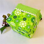 Christmas Fabric Basket 'Green Jingle Snowflake' 15cm