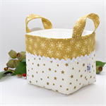 Christmas Fabric Basket 'Gold Stars' 15cm
