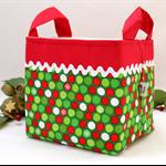 Christmas Fabric Basket 'Festive Dots' 15cm