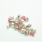 Pink and White Bracelet with Matching Earrings