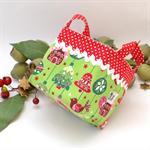 Christmas Fabric Basket 'Ornaments on Green' 10cm