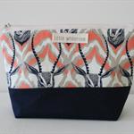 Fabric Deer Coral Cream and Navy Zippered Makeup Bag