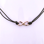Infinity choker necklace, rose gold, leather choker