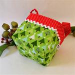 Christmas Fabric Basket 'Green Trees' 12.5cm