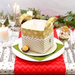 Christmas Fabric Basket 'Gold Chevron' 12.5cm