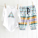 baby boy outfit | onesie & pants | aztec print teepee | last one !