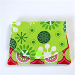Pocket Purse - Christmas snowflakes on lime green with pink dot circles.
