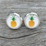 Glass dome stud earrings - pineapple